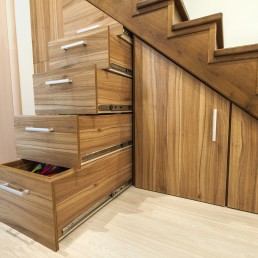 decluttering home storage stairs
