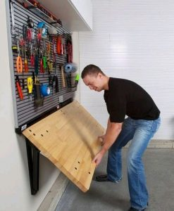 a foldaway workbench to optimise garage space