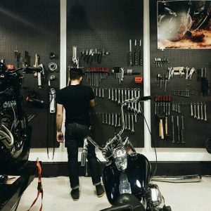 Wall storage in cool garage with motorcycle