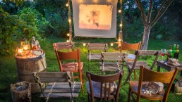 Summer cinema with retro projector in the garden - Beyond Storage
