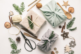 Fabric wrapped gifts for eco christmas wrapping