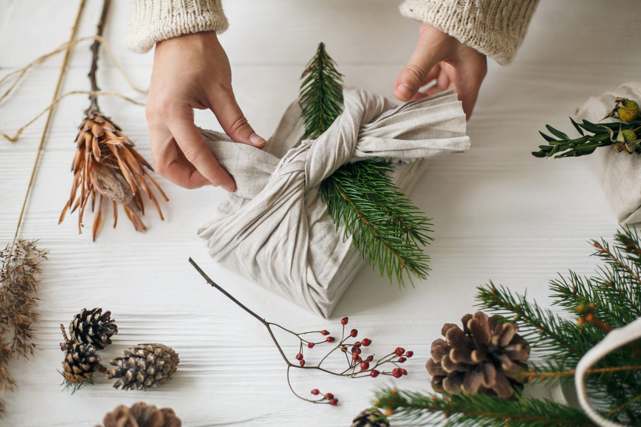 eco-wrapping fabric wraps and foliage